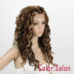 HAND-TIED-Synthetic-Hair-LACE-FRONT-FULL-WIGS-GLUELESS-Mixed-Blonde-99-6-12-24