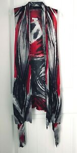 Paris-Hues-Womens-Size-Small-Long-Knitted-Vest-Red-Black-White-100-Viscose
