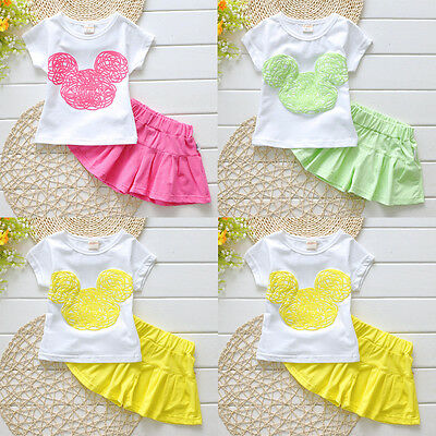Cute Girls Toddlers Kids Minnie Shirt Tops+Pantskirts 2pcs Outfits Clothes Set