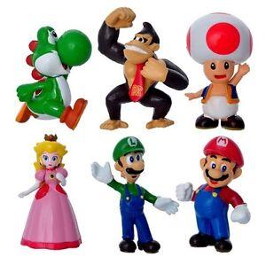 "SUPER Mario Brothers Bros 6/"" Principessa Peach Action Figure Cake Topper USA venditore"