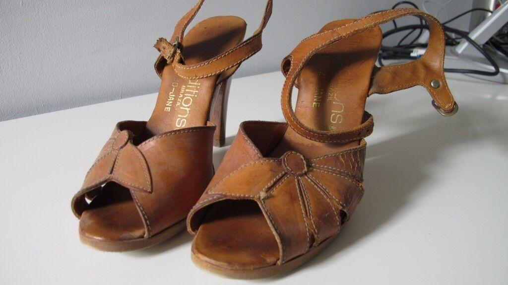 Vintage Medium Brown Wooden Heels from Brazil, Size 71/2B