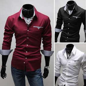 Nuevo-Para-Hombre-de-moda-de-lujo-Informal-Calce-Ajustado-De-estilo-Vestir-Camisas-3-Colores