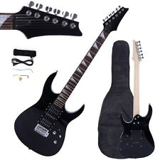 New Electric Guitar Black +Bag +Strap +Cord +Pick +Tremolo Bar+ Link Cable