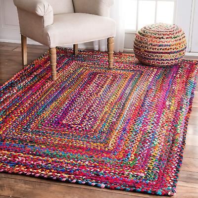 Rectangle Area Rag Natural Loop Jute Rag Rug Woven Fabric Floor Rug 2x2 Feet