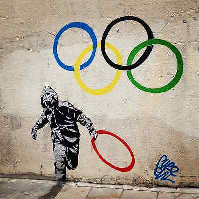 "Banksy-Olympic Rings -24""x24"" Canvas Print Urban Graffiti"