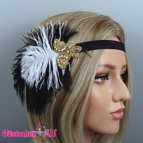 1920s Headband Black Feather Gold Bridal Gatsby 20s Gangster Flapper Headpiece