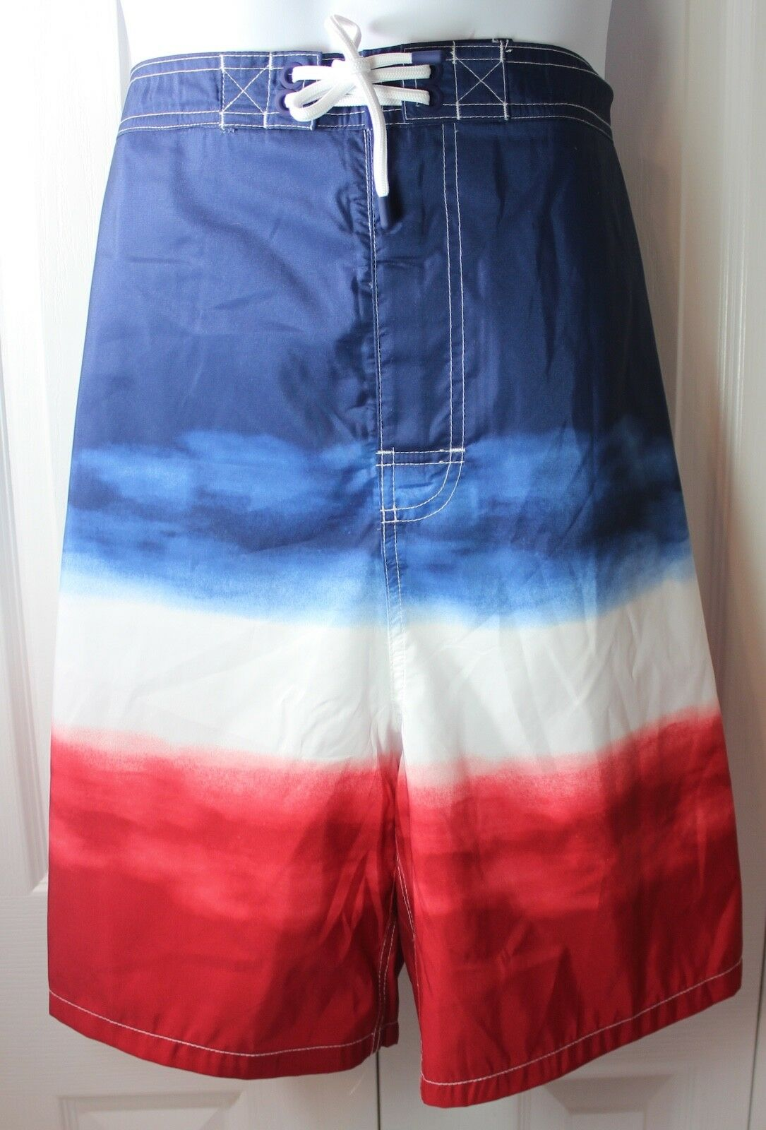 Polo Ralph Lauren 3XB RED WHITE blueE Ombre American USA Swim Trunks NWT