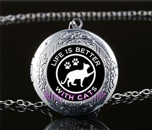 La vie est mieux avec les chats de Verre Tibet Argent Chaîne Médaillon Pendentif Collier #S25