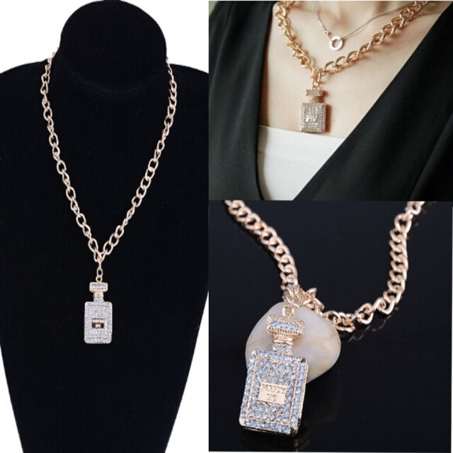 Chunky inspired large gold plated crystal perfume bottle necklaces chunky inspired large gold plated crystal perfume bottle necklaces pendant sa aloadofball Choice Image