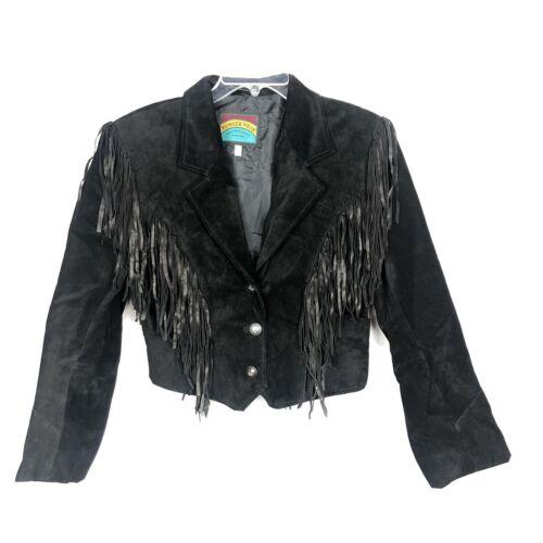Womens Pioneer Wear Black Suede/Leather Fringe Cro
