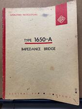 General Radio Instruction Manual Gr 1650 A Impedance Bridge Service Operating