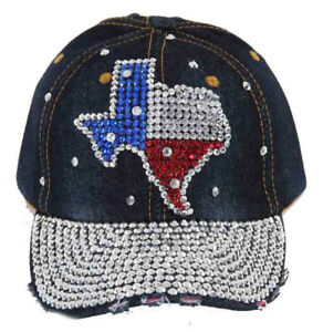 b6c6e05ea3263 ... coupon for image is loading denim texas state flag hat cap with  rhinestone 694ad c366d