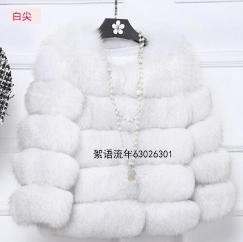 Women Faux Fur Coat Short Winter Fur Jacket Outerwear Fox Parkas Warm Coat S-2XL