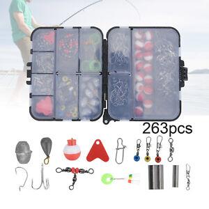 263PCS Fish Tackle Box Fishing Accessories Case Fish Hook Lure Parts Set Kit