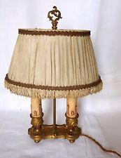 ANCIENNE LAMPE BOUILLOTTE DEUX FEUX STYLE LOUIS XV BRONZE DORE