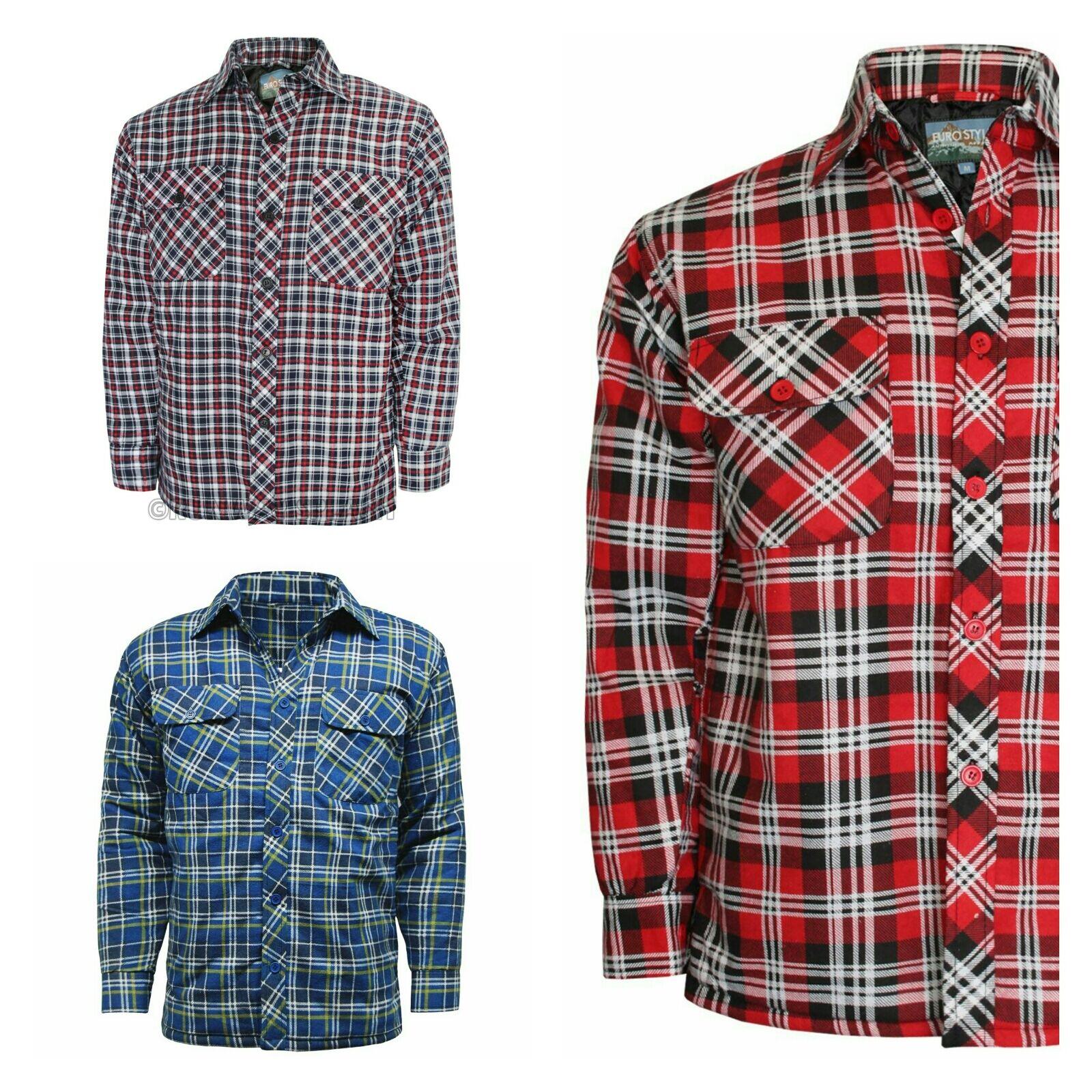 Herren Lumber Jack Outdoor gestepptes, gepolstertes, kariertes Hemdjacke, Top Size Chest Pock