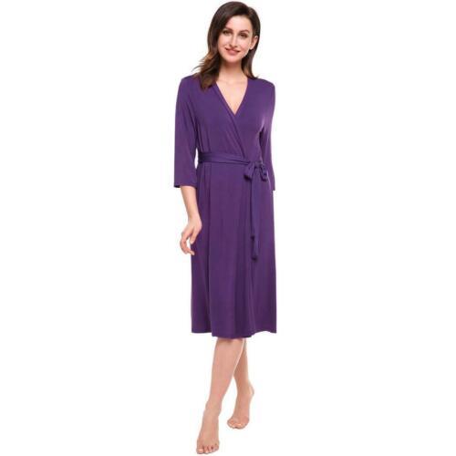 Womens 3//4 Sleeve Solid Loose V Neck Self Belt Long Robe BTL8 01