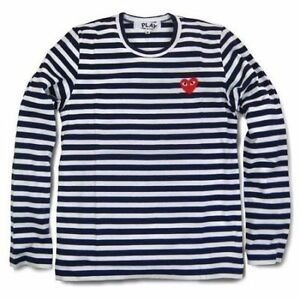 Navy Blue Unisex New Comme Des Garcons Cdg Play White