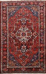 Vintage-Geometric-Bakhtiari-Area-Rug-Wool-Hand-knotted-Oriental-Carpet-7x10-ft