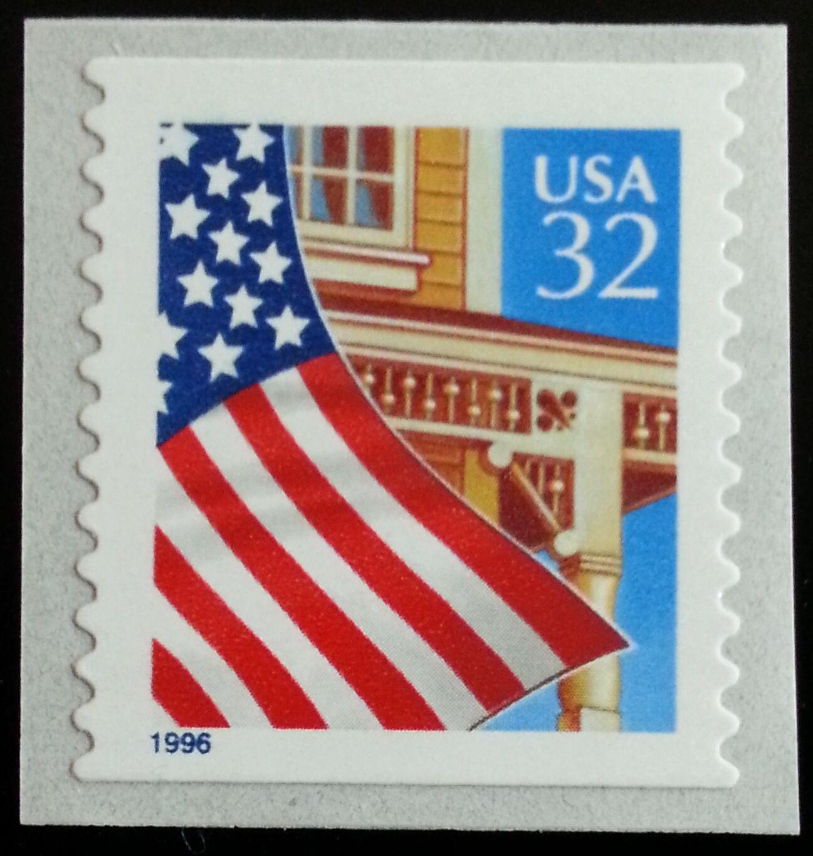 1996 32c Flag over Porch, SA Coil Scott 2915b Mint F/VF