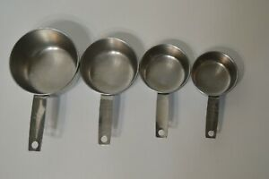 Vintage Stainless Steel Foley USA Measuring Cup Set of 4 Kitchen Decor Baking