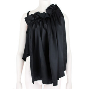 Ellery-Black-Satin-Gathered-Sleeveless-Colarado-Top-AU6-UK6