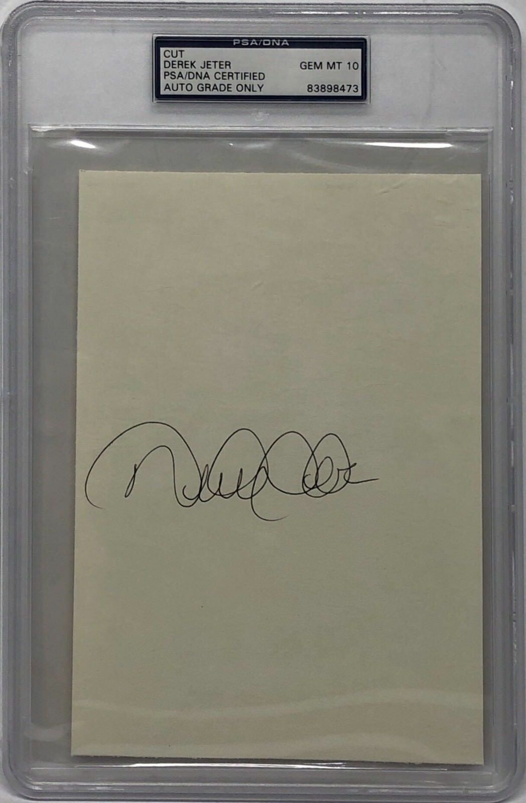 Derek Jeter Signed 5x8 Cut *New York Yankees Auto Grade GEM MT 10 PSA