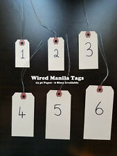 Wire Manila Tags Reinforced Hang Label Inventory Shipping Stock Size 1 2 3 4 5 6
