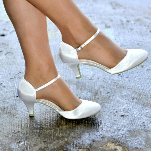 LADIES IVORY SATIN LOW KITTEN HEEL ANKLE STRAP BRIDAL WEDDING SHOES SIZES 3-8