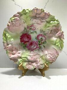 Antique-Victoria-Austria-Embossed-3D-Flowers-Roses-Bowl-Plate-10-034-RARE