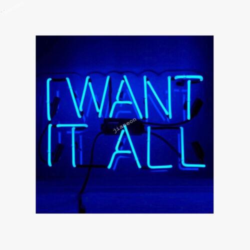 "Rare /"" I WANT IT ALL/"" Neon Sign Light Wall Decor Handmade Visual Acrylic Artwork"