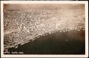 SEATTLE-WA-Vintage-Aerial-Town-Harbor-View-RPPC-Postcard-Old-Washington-Photo