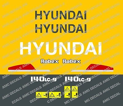 HYUNDAI 80 CR-9 DIGGER EXCAVATOR DECAL STICKER SET WITH SAFETY WARNING SIGNS