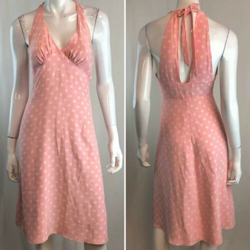 Betsey Johnson Women's 4 Pink Silk Polka Dot Halte