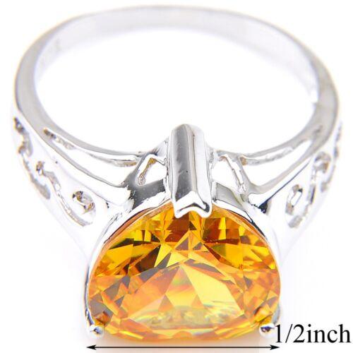 Weddiing Shiny Heart Natural Golden Citrine Pierres Précieuses Argent Femme Bague Taille 7 8 9