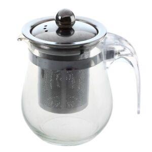 350mL-Heat-resistant-Clear-Glass-Teapot-Stainless-Steel-Infuser-Flower-Tea-Po-SS