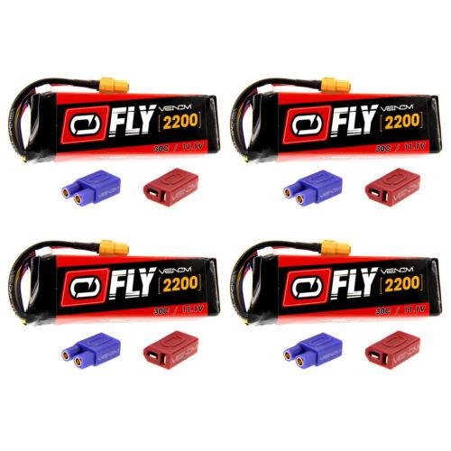 Venom Fly 30C 3S 2200mAh 11.1V LiPo Battery with UNI 2.0 Plug x4 Packs