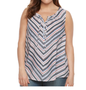 79b46a35d0a4a Women s Sonoma Stripe Floral Front Tie Tank Top Sleeveless V-Neck ...