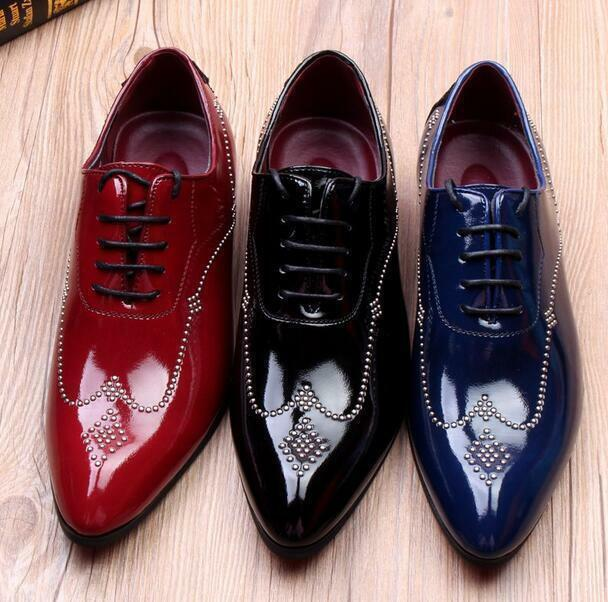 Mens pointy toe patent leather British Brogues dress formal Carved Lace Up shoes
