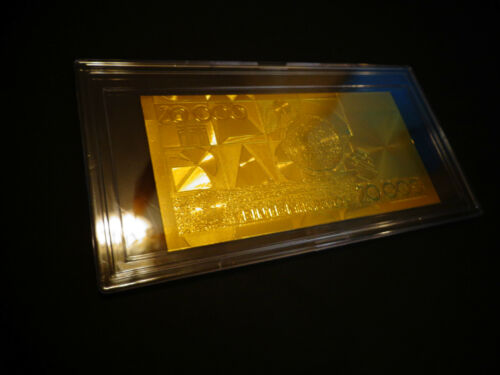 24 KARAT GOLD COLOMBIA 20000 pesos BILL COMES IN ACRYLIC SLAB GIFT HOLDER