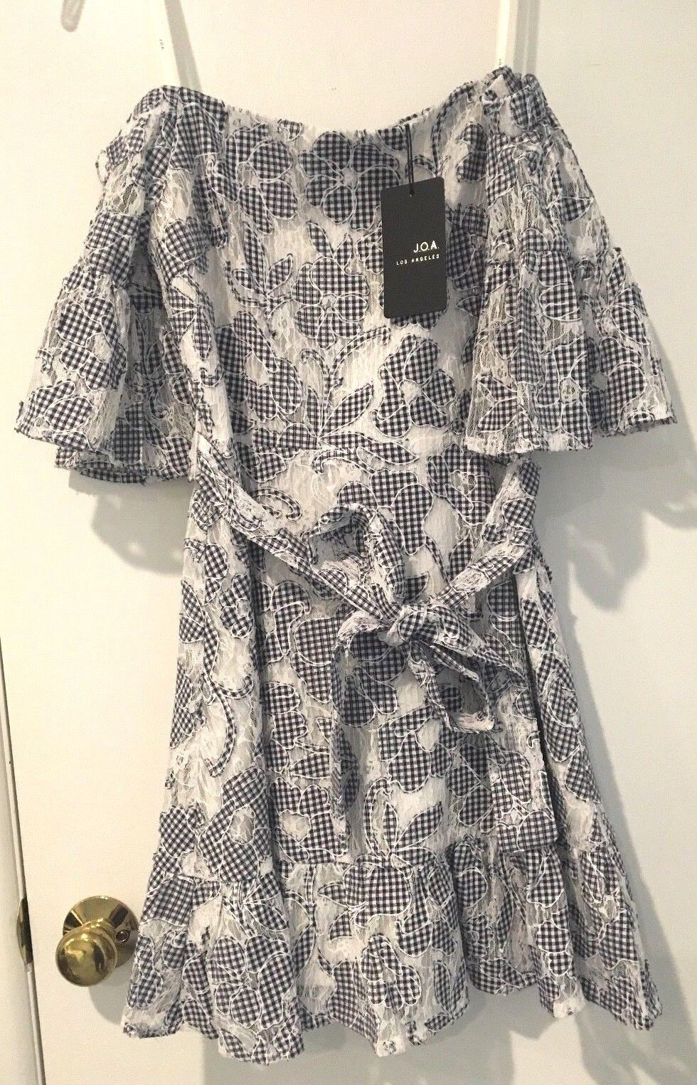 J.O.A. J.O.A. J.O.A. Floral Lace Off The Shoulder Dress in Navy & White Size XS b6801f