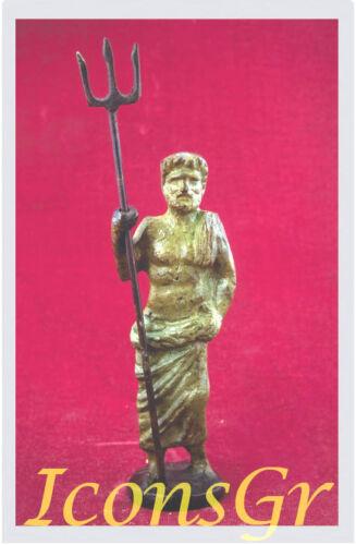 Ancient Greek Bronze Olympian God Pantheon Sculpture Statue Poseidon King Of Sea