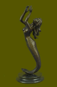 Bronze-Sculpture-of-Mermaid-Sea-Ocean-Nautical-Hand-Made-Masterpiece-Statue-Deco
