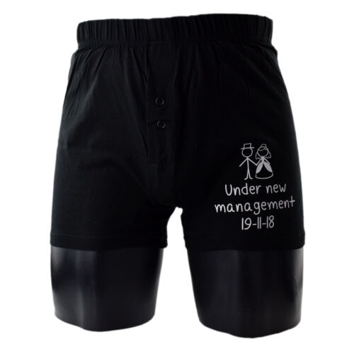 XNBS076 Personalised Under New Management with Date Wedding Boxer Shorts