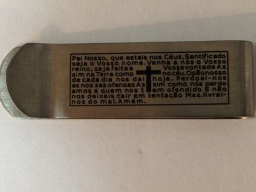 Good luck Money Clip with padre nuestro prayer Pai Nosso engrave in Portugues