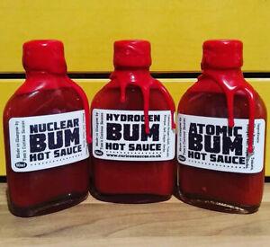 Set-of-3-x-Tom-039-s-Hot-Sauces-Atomic-Bum-Nuclear-Bum-Hydrogen-Bum-50ml-Bottles