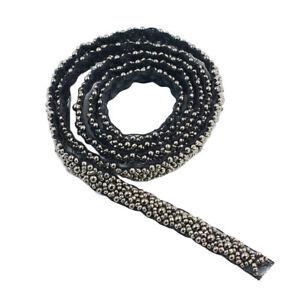 1-Yard-Pearl-Beaded-Embroidered-Ribbon-Trim-Clothing-Decoration-Black-Grey