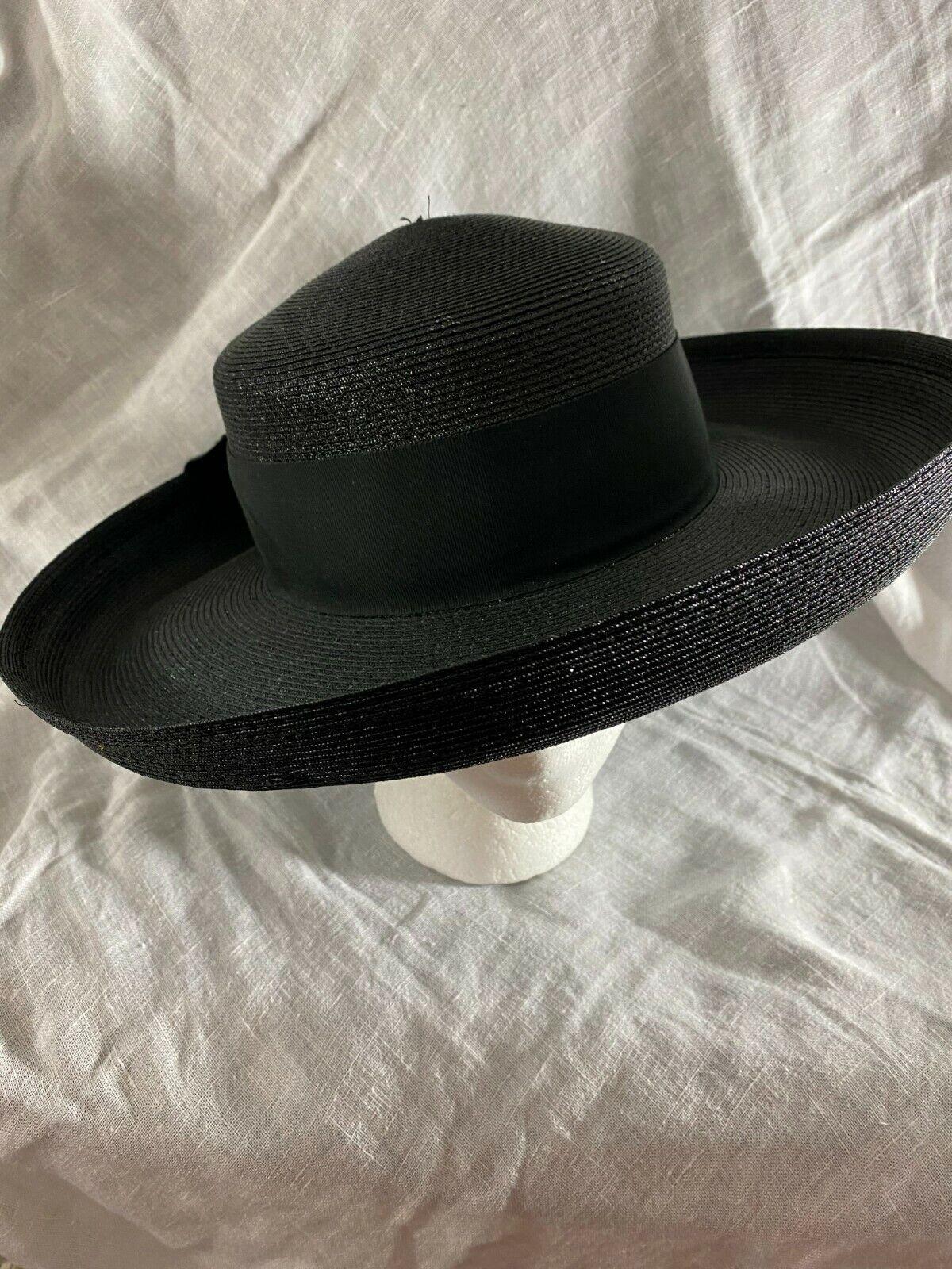1940's HAT -Wide Brim- Black Straw w/Black Ribbon… - image 1