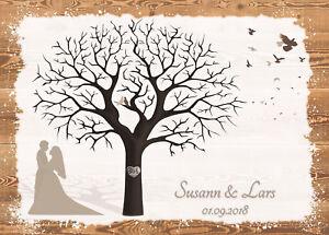 Fingerabdruck Hochzeitsbaum Leinwand Weddingtree Sepia Holzoptik