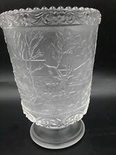 18cm Lit Glass Vase With 3 Birdhouses Scene With 10 Warm White LEDs Christmas Xm